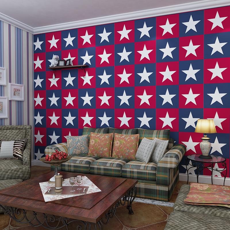 Captain America wallpaper star stripe wallpaper children bedroom wall American Mediterranean stars captain