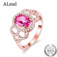 Almei 1.5ct 핑크 비즈 토파즈 자연 돌 영원 반지 원래 925 스털링 실버 보석 로즈 골드 색상 상자 40% FJ020