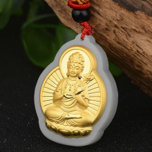 Hetian jade inlaid gold  Jade Pendant Necklace Buddha pendant For Men and Women Fine Jewelry