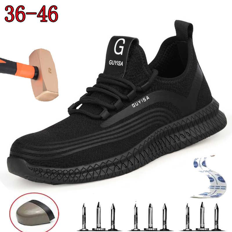 Безопасная рабочая страховая обувь мужская противоскользящая Рабочая обувь Летняя дышащая легкая обувь для походов с сетчатыми вставками