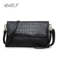 BAQI Women Handbags Shoulder Bags Genuine Leather Cowhide Luxury Designer 2019 Fashion Women Messenger Crossbody Bag Purse Lady недорого