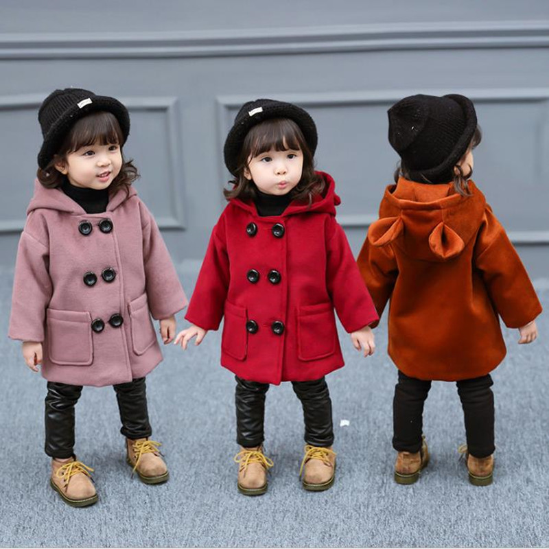 DFXD Winter Baby Girls Wool Coat England Style Kids Double Breasted Cotton Thick Hooded Outwear Children Long Wool Tops 18M-5T 2016 new fashion fur collar women coat sexy ladies wool sweater double breasted thick skirt cotton dress 3 colors size s 2xl page 4 page 5 page