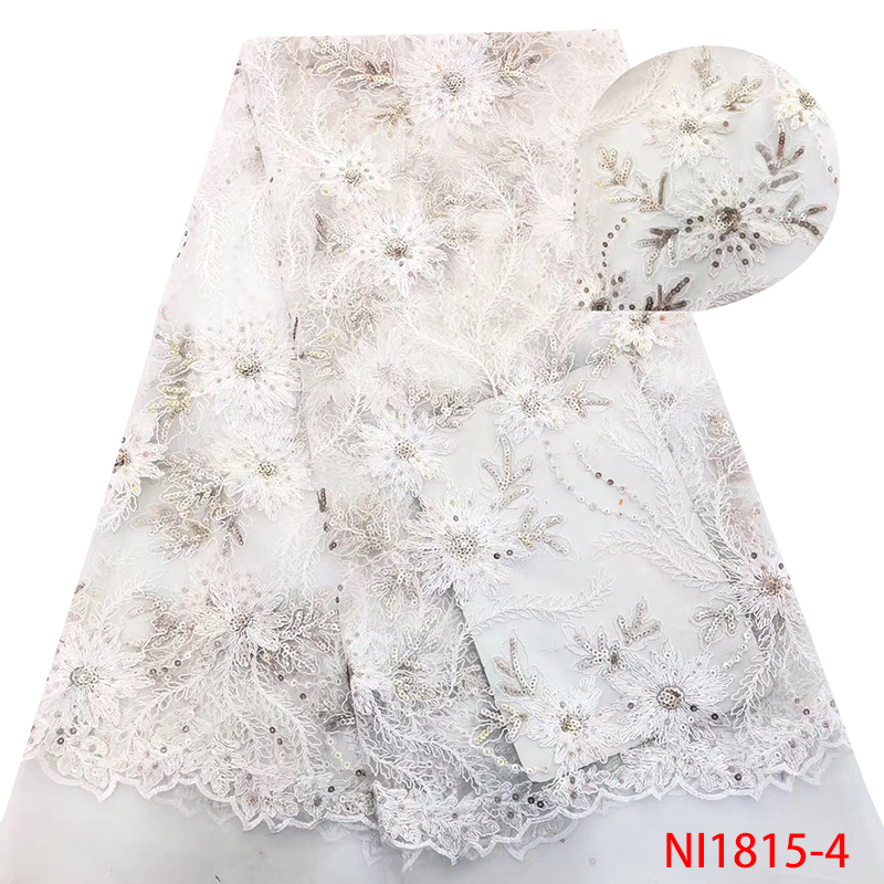 African Tulle Lace Fabric White,Sequins Lace Fabric High Quality 2019, Nigerian French Embroidery Net Laces For Party KSNI1815-4