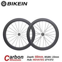 BIKEIN Road Bike Clincher Tubular Bike WheelSets Cycling Bicycle 3k Carbon Wheels 60mm Depth 700C Ultralight