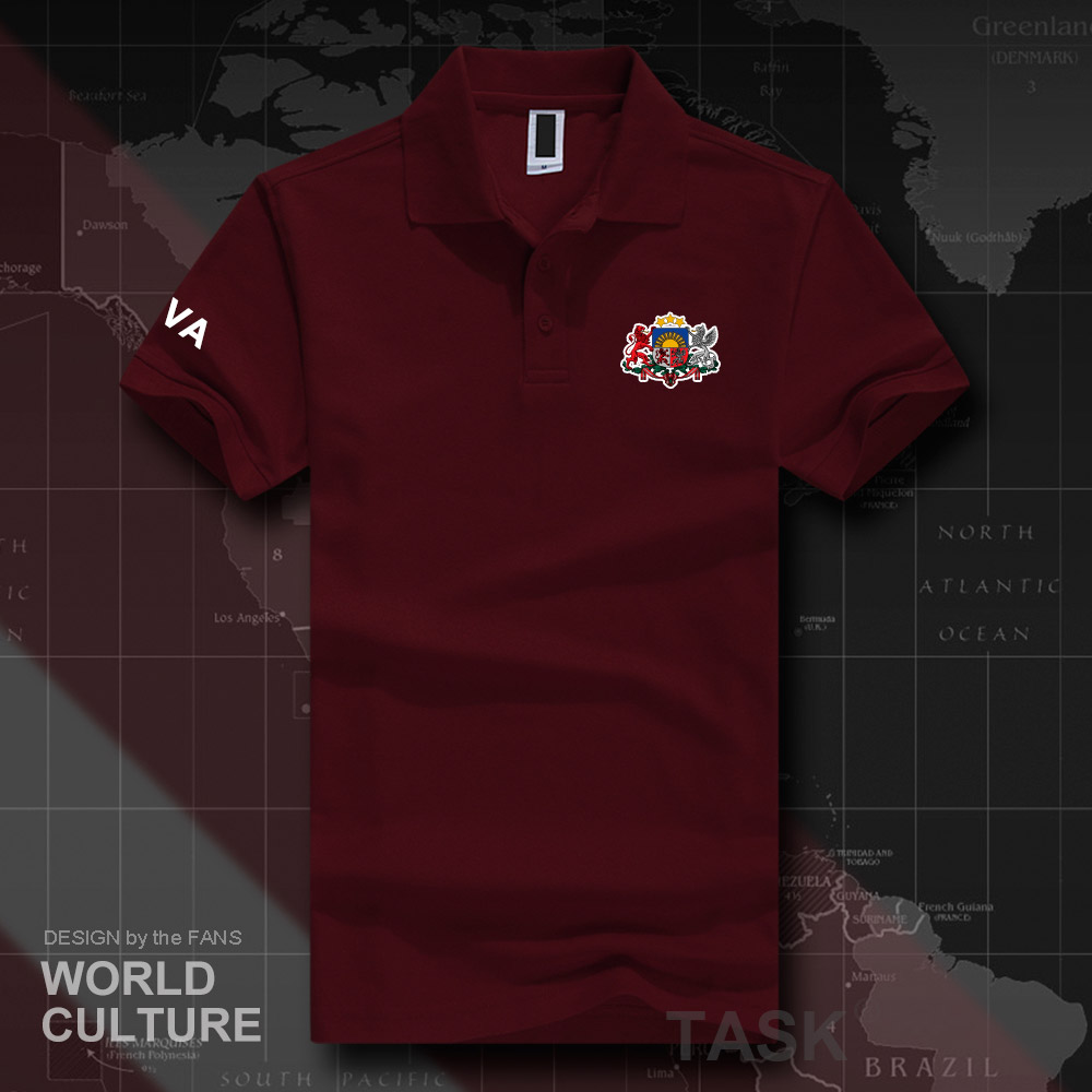 Republic of Latvia LVA polo shirts men short sleeve white brands printed for country 2018 cotton nation emblem new fashion