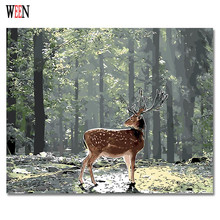 WEEN Deer in Forest Digital Pictures By Numbers On Canvas DIY Animal Art Oil Painting Coloring Home Decor Gift Poster