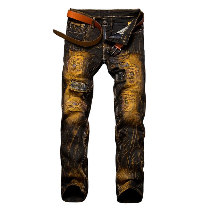Európa Amerika márka pelyhesített retro lyuk farmer Homme alkalmi Slim Straight farmer férfiaknak kiváló minőségű patchwork demin nadrág