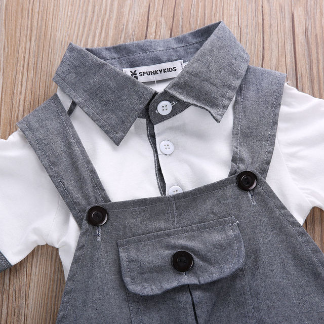 Newborn Baby Boys Shirt +suspender Pants Gentleman Cotton baby clothing Sets Summer Toddler Infant Boy Outifits Set 4