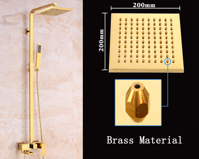 Luxury Gold Finish Bathroom Shower Mixer Faucet with 8\