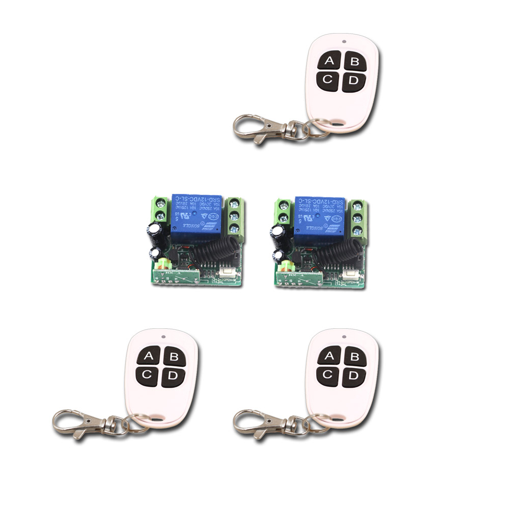 Smart Home Hot Selling Mini 12V Relay 1CH Wireless Remote Control Switch 3Transmitter+2 Receiver with 4Buttons 315/433mhz 315 433mhz 12v 2ch remote control light on off switch 3transmitter 1receiver momentary toggle latched with relay indicator