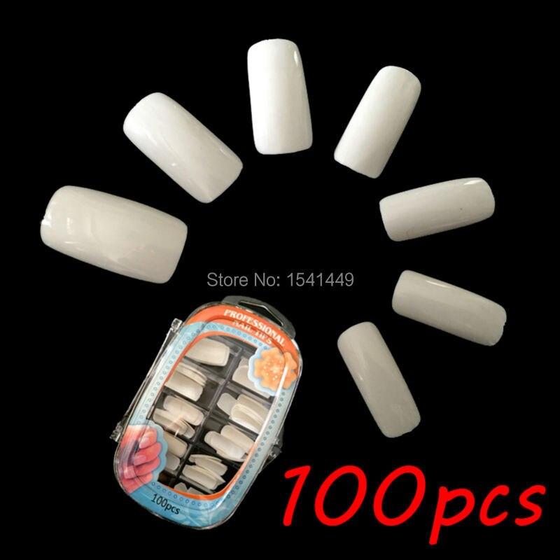 100 pcs/caixa haute qualité une pleine ongle du salon faux ongles porcelaine  blanc ABS gel nail art faux ongles compétences  4 de la boutique en ligne