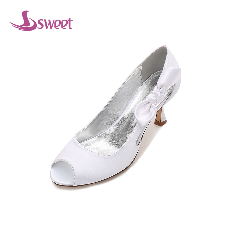 Femmes sur Loisirs Base Chaussures White Toe D'été De Doux A177a Marque Slip Papillon Minces lvory Soie noeud Peep Pompes Matures Femme Talons v5U0Uq4x