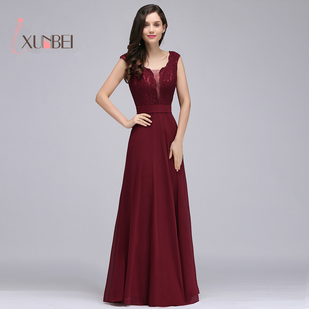 Robe de soiree Burgundy Lace Evening Dresses Long 2019 Sexy Appliqued Chiffon Navy Dusty Pink Prom Dresses Formal Party Gown