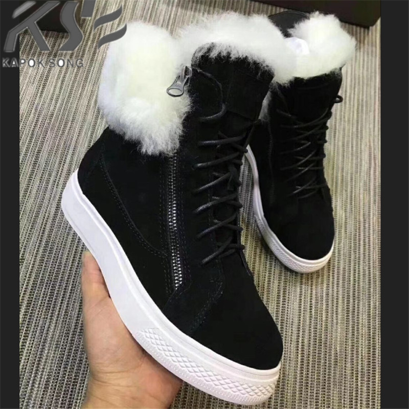 цена luxury designer leather and wool thick warm boot women shoes genuine sheepskin excellent quality fashional warm winter g boots