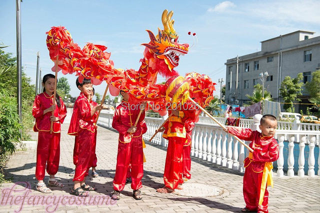 e6568845c children size CHINESE DRAGON DANCE 5.5 M Folk Festival Celebration Costume  6 children to play