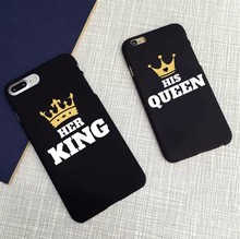 New arrival Text Black Background Hir Queen Her King Cover Case For Apple iPhone 5 5S 6 6s 6Plus 7 7Plus SE protective Cover