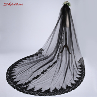 Cathedral Black Wedding Veil 3 Meters Long Lace Bride Bridal Veils