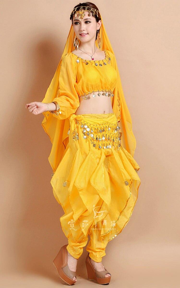 2017 Plus Size Belly Dancing Costumes Top 5Pcs + Pant + Belt + Veil for Head + bracelet Suit Indian Dance Indian Clothes Belli Dancer