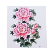 Розовые цветы татуировки наклейки водонепроницаемые дамы татуировки прочный Грудь назад пот-доказательство Сладкая красота руки татуировки наклейки