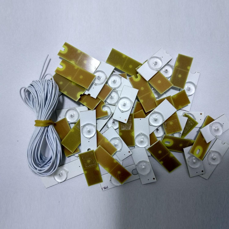 3 12V SMD ランプビーズ光レンズ Fliter ため 32 65 インチ LED テレビの修理 (20 個 3 とケーブル) -