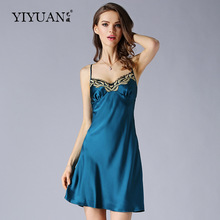 100% Natural Silk Nightdress Female Summer Sleeveless Nightgowns Sexy V-Neck Embroidery Women Sleepwear D33157