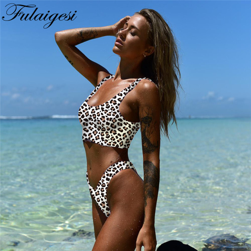 Fulaigesi <font><b>Bikini</b></font> 2020 New Hot <font><b>Leopardo</b></font> Swimwear Lady High Cut Swimsuit <font><b>Sexy</b></font> Bathing Suit Woman Beach Wear Push Up Biquini Set image
