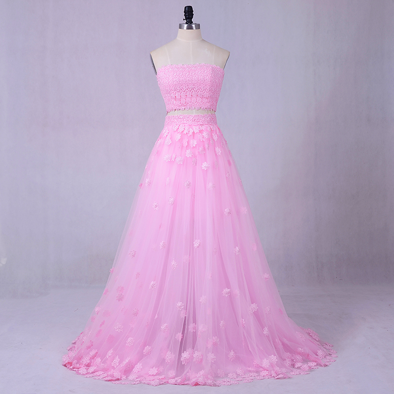 Beach Wedding Dress Flowers Color dress Greek Wedding Dress Romantic Pink  Two pieces A-line Ladies Masquerade Hot Sale 44f2e52822bd