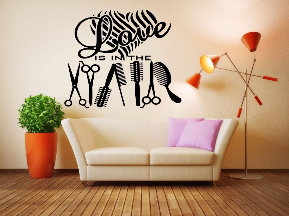 Hair salon wall decor home decorating ideas for Stickers salon design