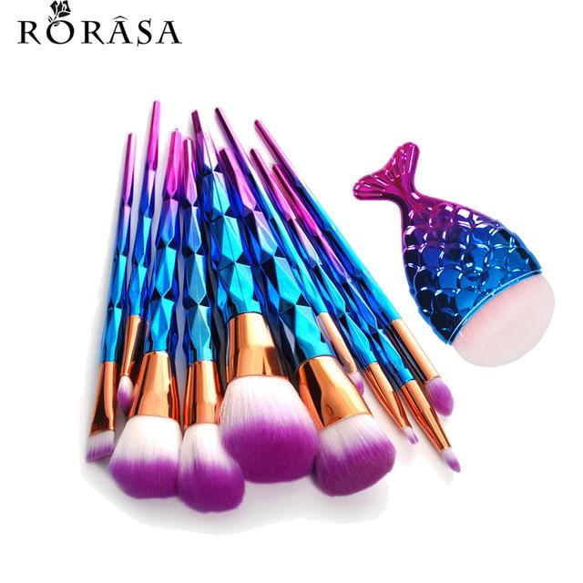 11Pcs Mermaid Fish Tail Shaped Diamond Rose Gold Makeup Brush Set Foundation Powder Cosmetics Brush Rainbow Eyeshadow Brushes 30