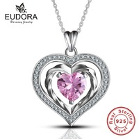 Eudora Genuine 925 Sterling Silver Sweet Pink Crystal Heart To Hearts Shiny CZ Pendants Necklace For
