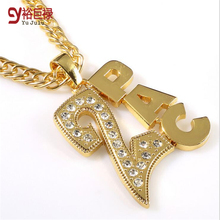 2017 Styles Hipsters Long Chain Necklace Gold Metal Crystal Rhinestone 2PAC Pendant Fashion HipHop Accessory Women Men Jewelry