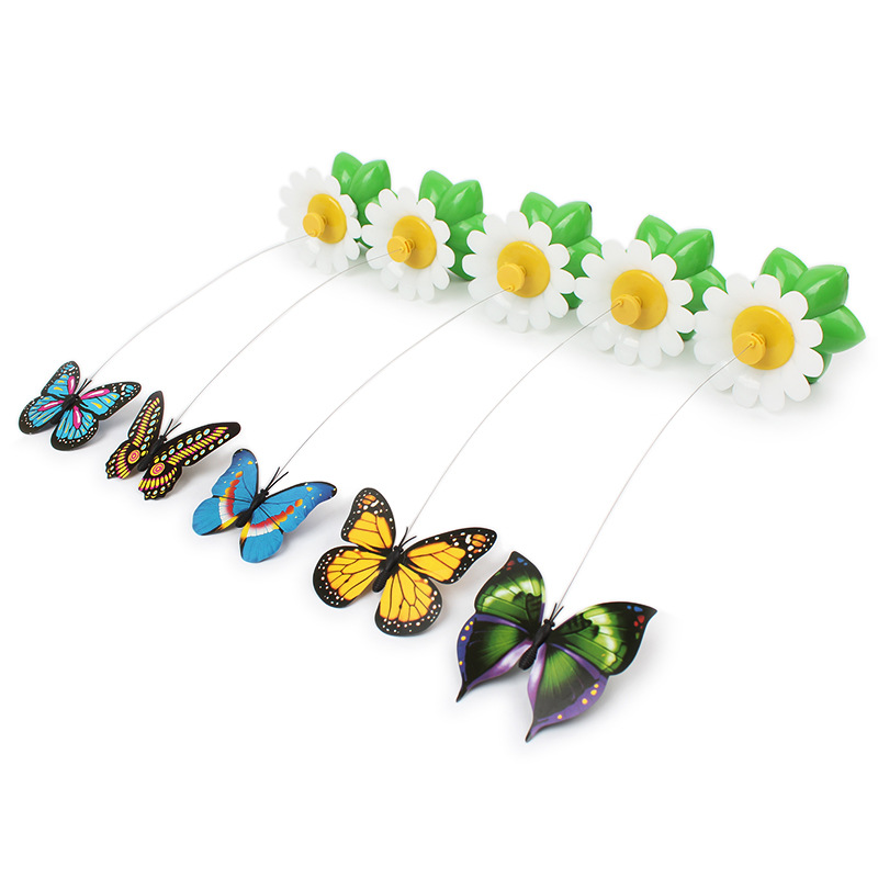 dog cat toys pet puppy Cat interactive puzzle small toy fun cat stick electric flying butterfly around flowers dog cat tease toy