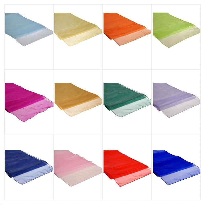 Constructief 10 Stks Organza Tafellopers Voor Bruiloft Decoratie Roll Crystal Tulle Pruim Sheer Gaas Element Tafelloper Topkwaliteit Goede Metgezellen Voor Kinderen Evenals Volwassenen
