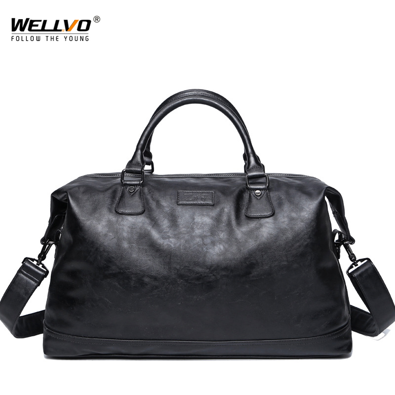 Wellvo High Quality Pu Leather Mens Travel Duffle Bag Round Bucket Shape Handle Bag Shoulder Messenger Bag Large Size XA142WC
