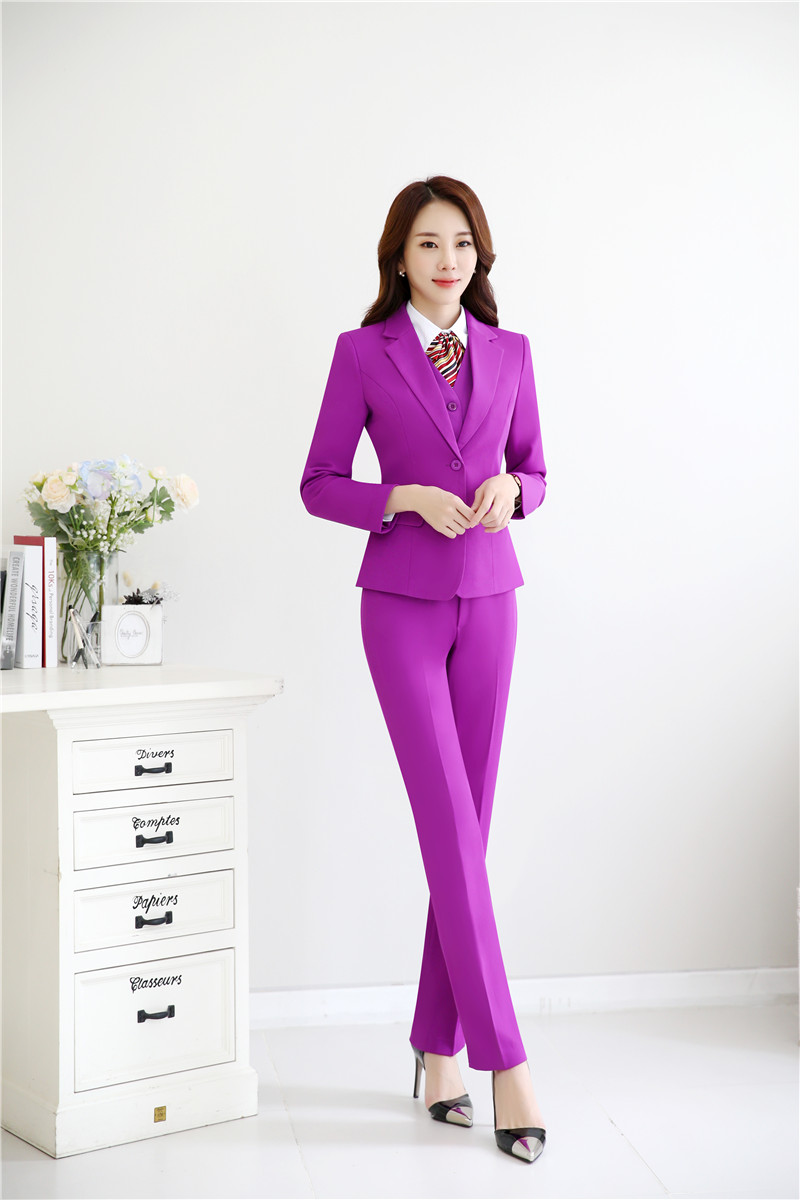 Pièces Dames Purple Pantsuits dark Pour Pantalon black dark Costumes Hiver Blue Vestes Avec Et Purple Fashion Automne Blazers Purple 3 Gilet grey 60w0qFOAR
