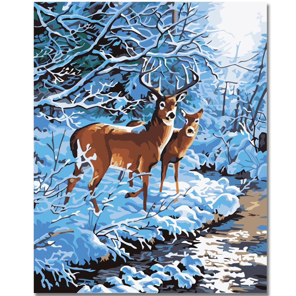 WEEN Two Deer DIY Painting By Numbers Kit,Paint On Canvas, Coloring Numbers, Calligraphy For Home Decor 40x50cm