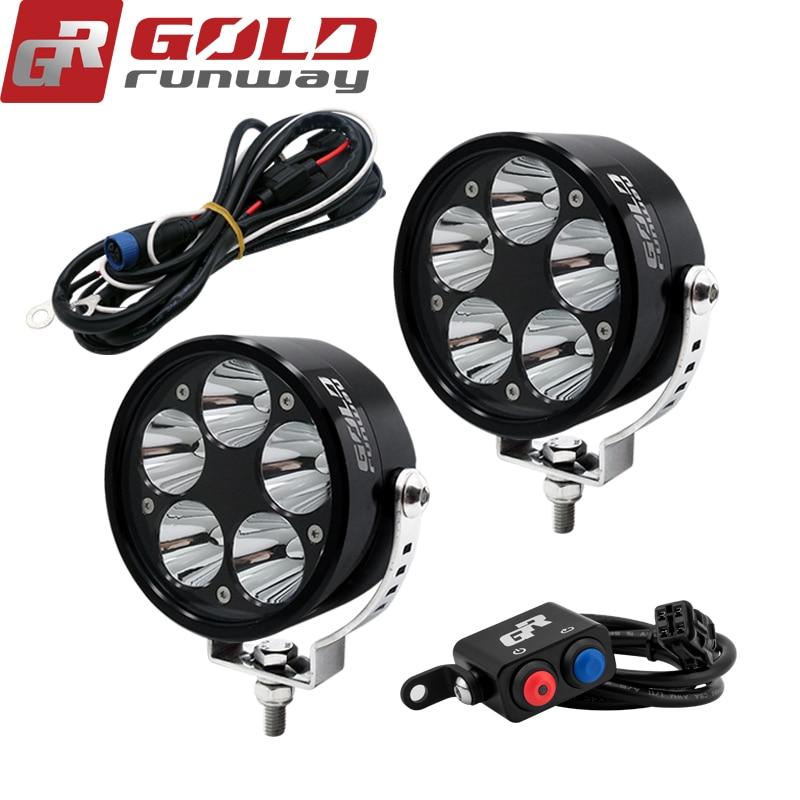 """GOLDRUNWAY GR 3.5""""Black Motorcycle headlight Motor Bike Headlamp Spot Light for BMW Harley Chopper Cruiser Cafe Racer 50W kit"""