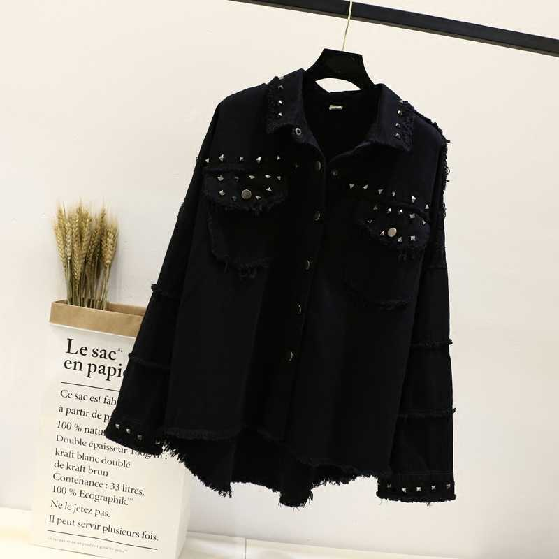スタッズ擦り切れ裾デニムジャケットの女性のコート黒ラペルシングルブレスト 2019 女性のジャケットとコート