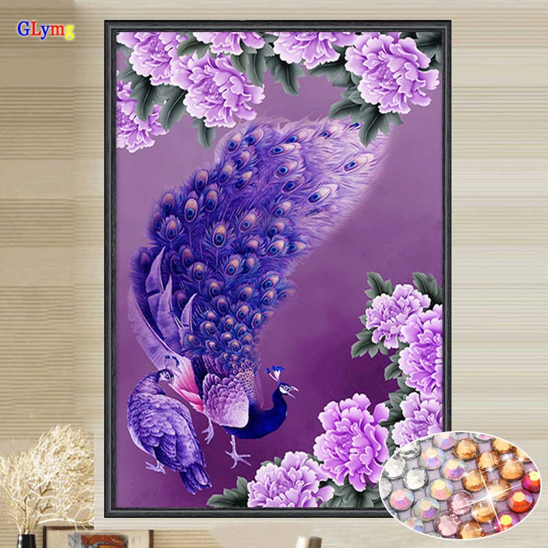 GLymg Needlework Diy Diamond Embroidery Purple Peacock Crystal Bright Round Drill Diamond Painting Cross Stitch Gift Home Decor