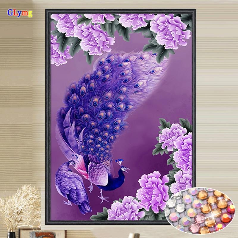 Glymg diamante bricolaje costura Bordado púrpura cristalino del Pavo Real brillante taladro Cuadros de punto de cruz regalo Decoración para el hogar