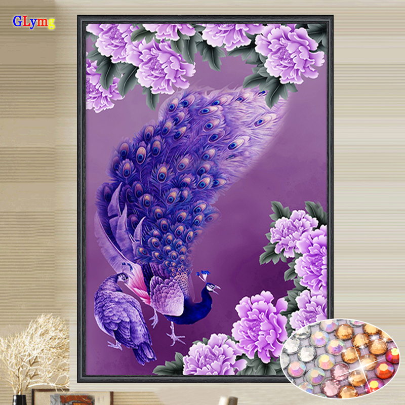 Glymg diamante bricolaje costura Bordado púrpura cristalino del Pavo ...