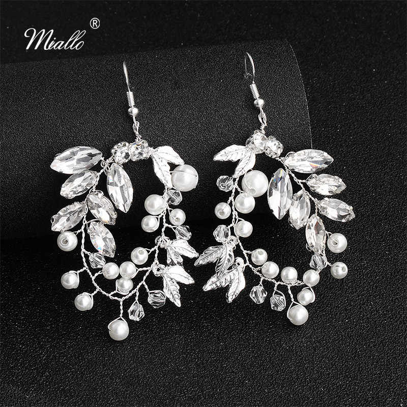 Miallo 2019 Classic Austrian Crystal Leaves Handmade Wedding Big Earrings Bridal Women Jewelry Earrings for Bride Bridesmaids
