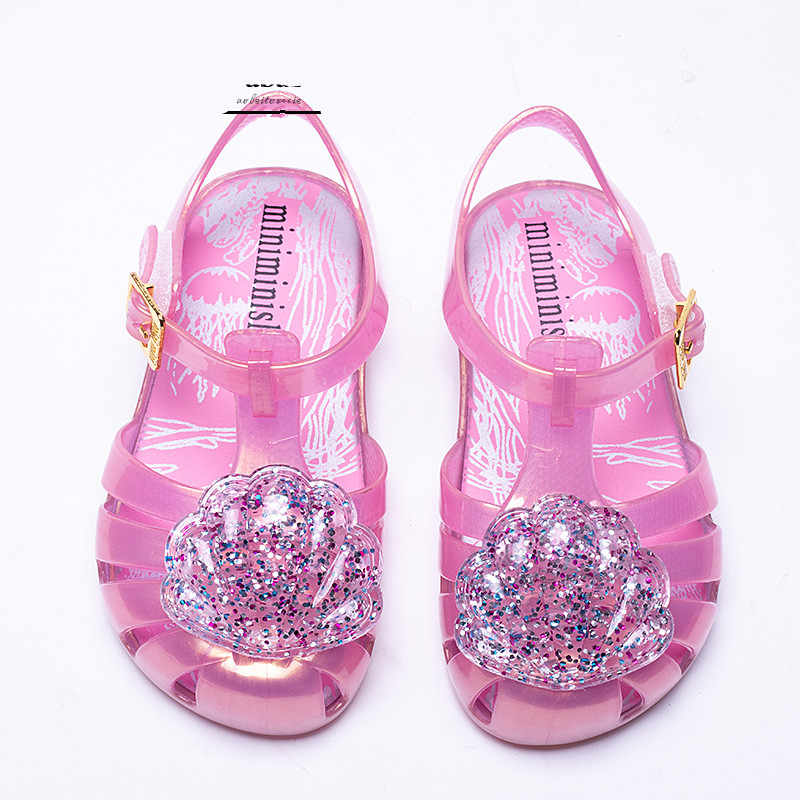 35eae8777f Mini Melissa Brazil Girl Jelly shell Sandals 2018 New Children Sandals  Shoes Water Shoes Beach Sandals Breathable Kids Sandals