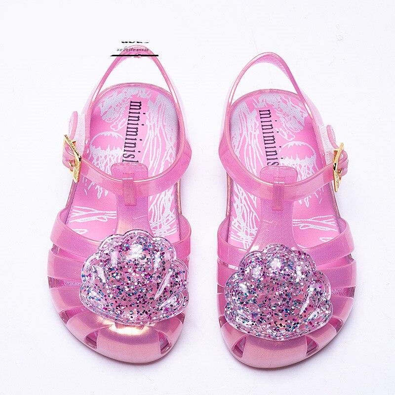 Mini Melissa Brazil Girl Jelly shell Sandals 2018 New Children Sandals  Shoes Water Shoes Beach Sandals Breathable Kids Sandals 31d0c1e469d6