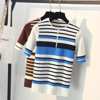 High Quality Women Sweaters Summer Striped Knitting Tops Pullovers Female Knitwear Knitted Shirts Femme Pull Clothings