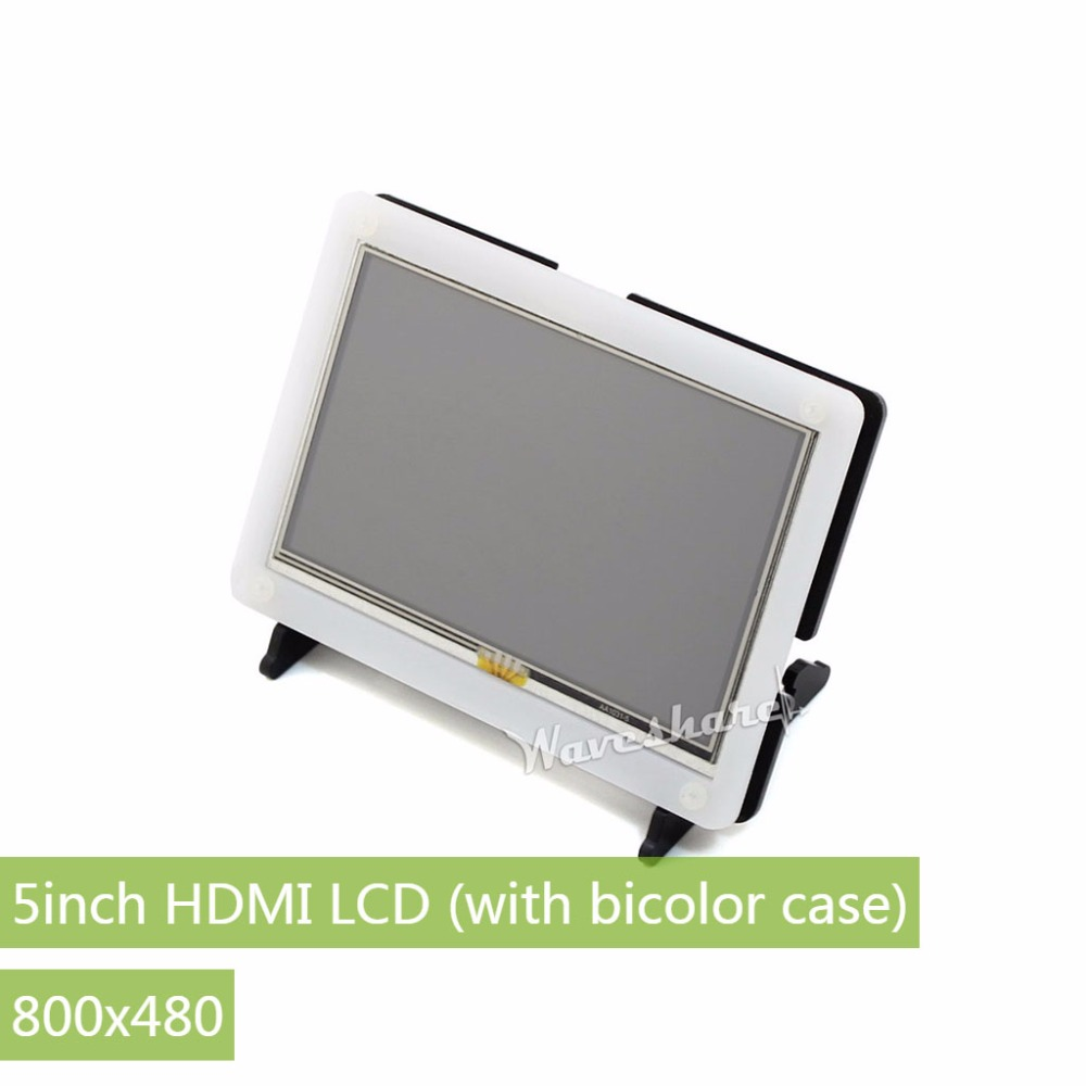 5inch HDMI LCD 800*480 (with bicolor case) Touch Screen LCD Support Raspberry Pi 3 B/2 B /A+ /B+ Banana Pi / Pro Driver Provide module waveshare rpi 5inch hdmi lcd b with clear case display touch screen for raspberry pi b 2b 3b banana pi pro beaglebone bl