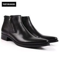 Мужские ботинки Пояса из натуральной кожи черный острый носок Роскошные модные классические Бизнес офисные формальные Ботильоны Мужская о