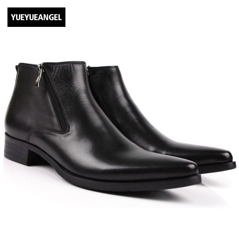 Men Boots Genuine Leather Black Pointed Toe Luxury Fashion Classic Business Office Formal Ankle Shoes Male Side Zipper