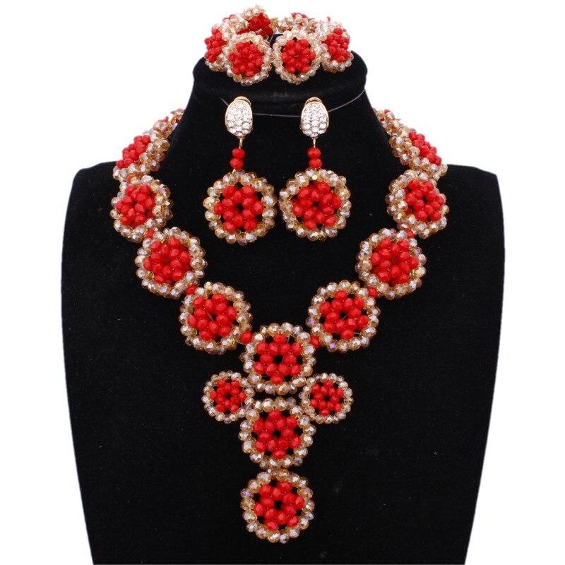 Ensemble de bijoux de luxe en or rouge bijoux de mode Dubai tresse fleurs boucles d'oreilles de mariée et collier ensemble de bijoux en cristal africain