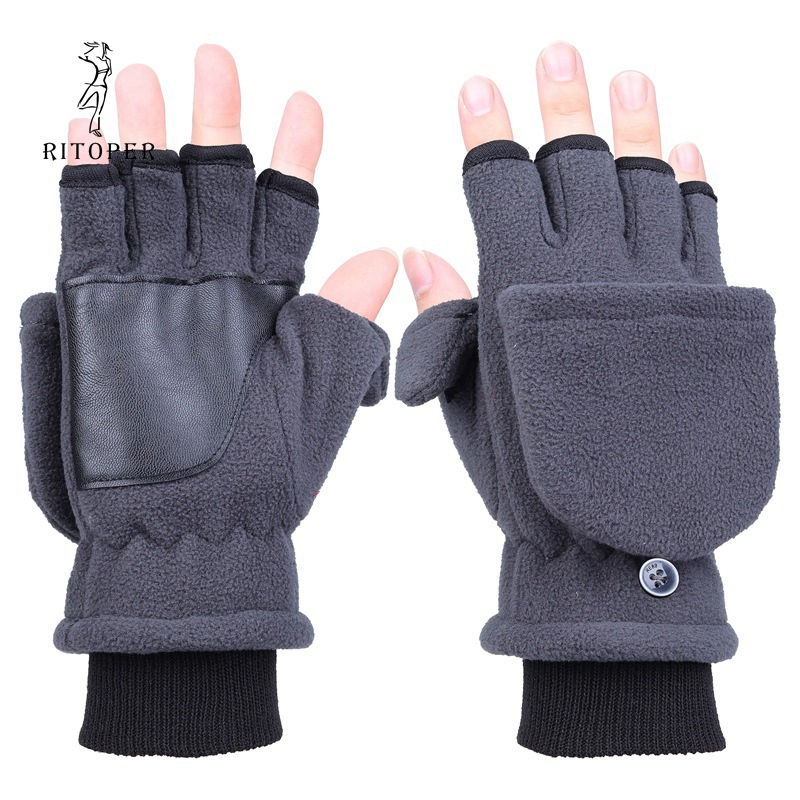 RITOPER Unisex Plus Thick Fingerless Gloves Winter Warm Touch Screen Leather Gloves Flip Half Finger All-Round Protection Glove